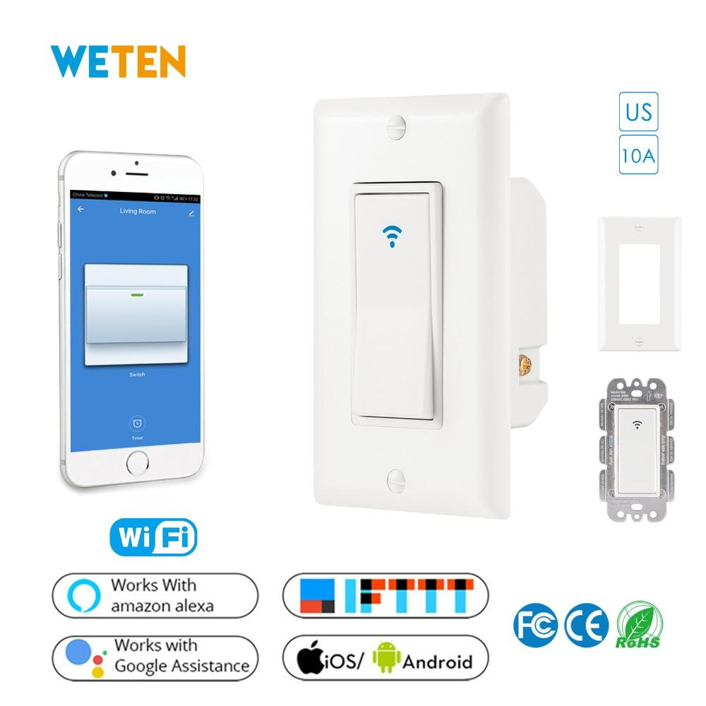 Smart Wifi Wall Light Switch US Standard 10A Mobile APP Remote Control  Light Switch Voice Control with Alexa Google Home