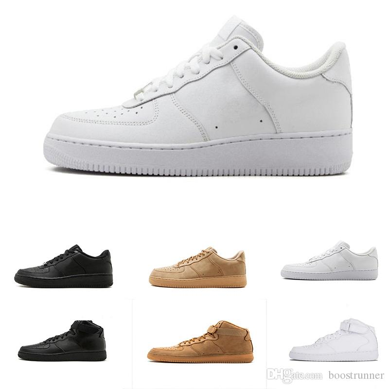 cheap for discount 57845 739e8 Compre Fuerzas Zapatos Para Correr Mujeres Hombres Aire Clásico Blanco Negro  Zapatos 1 One Low High Sneaker Sports Sneakers Shoes Forcing One Skate A   60.92 ...