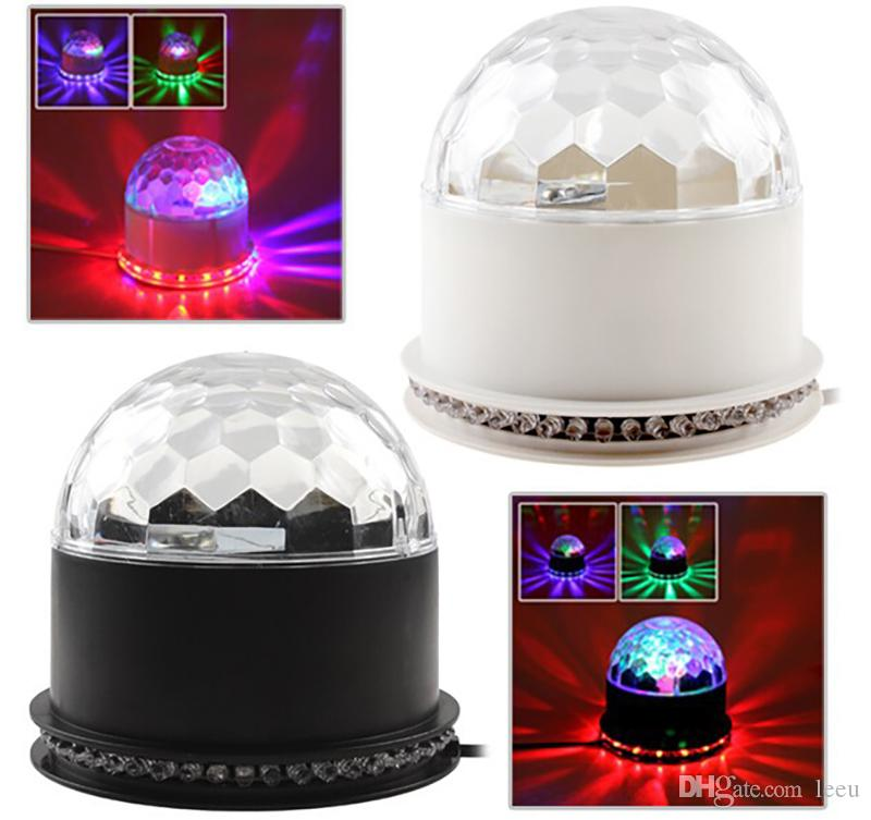 15W 2in1 Voice-Activated RGB Crystal Magic Ball 48 LEDs Stage Lighting Effect Light Lamp LED Light Auto For Disco Party