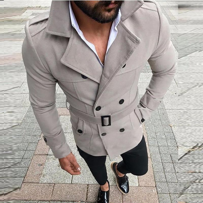 2020 New Jacket Men's Fashion Slim Fit Long Sleeve Suit Top Windbreaker Trench Coat Men Autumn Winter Warm Button Coat