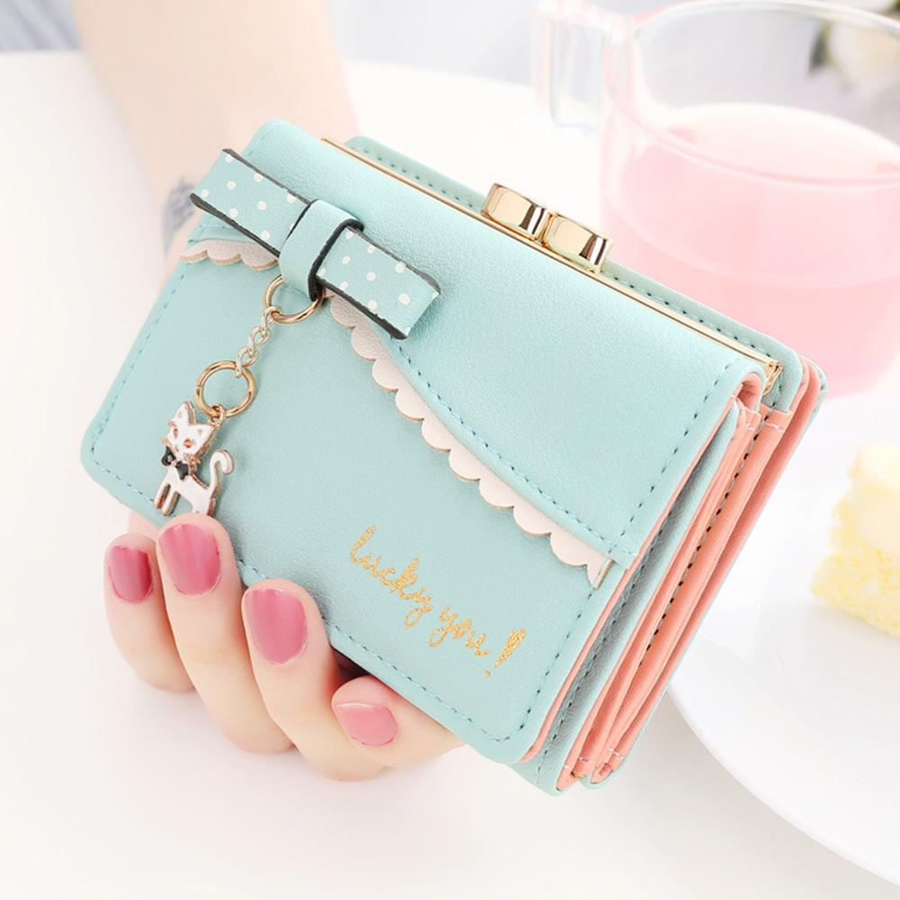 Women Cat Pendant Wallet Holders Money Bag Zipper Coin Cartoon Synthetic Leather Hasp Cute Card Purse