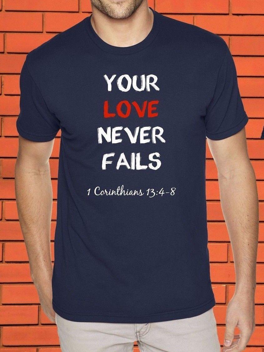 9ebf72f9d6cf7 Compre Seu Amor Nunca Falha Camisa Religiosa Cristã Da Fé T De Jesus Christ  De Jie40, $14.67 | Pt.Dhgate.Com