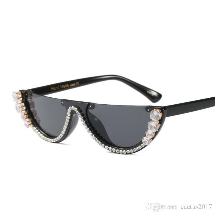 c65cd397c16 Cat Eye Sunglasses Women Luxury Designer Sunglasses Metal Jewel With  Rhinestone Decoration Cat Eyes Sun Glasses Vintage Shades Oculos Circle  Sunglasses ...
