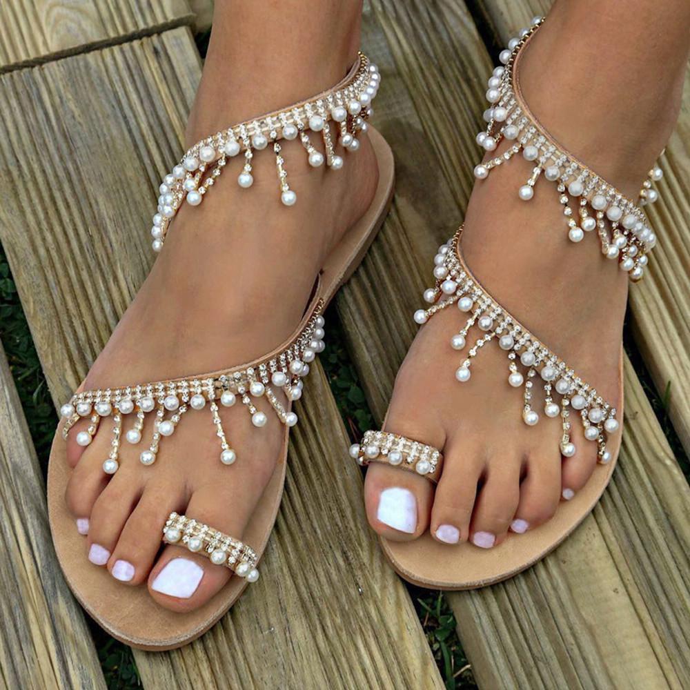 Sexy Bottom Mujer Pearl Dama Sandalias De Flat Abalorios Fiesta Verano Brillantes Femme Chaussures Zapatos 9H2YWIED