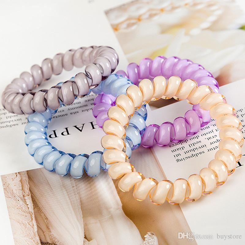 100pcs/bag 27 Colors 5cm Telephone Wire Cord Gum Hair Tie Girls Elastic Hair Band Ring Rope Candy Color Bracelet Stretchy Scrunchy Free DHL