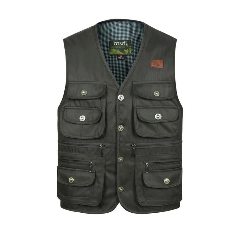 Men Multi Pocket Button Vest Summer Fashion Cargo Photographer Work Black Green Male Sleeveless Jacket Colors Waistcoat C190420