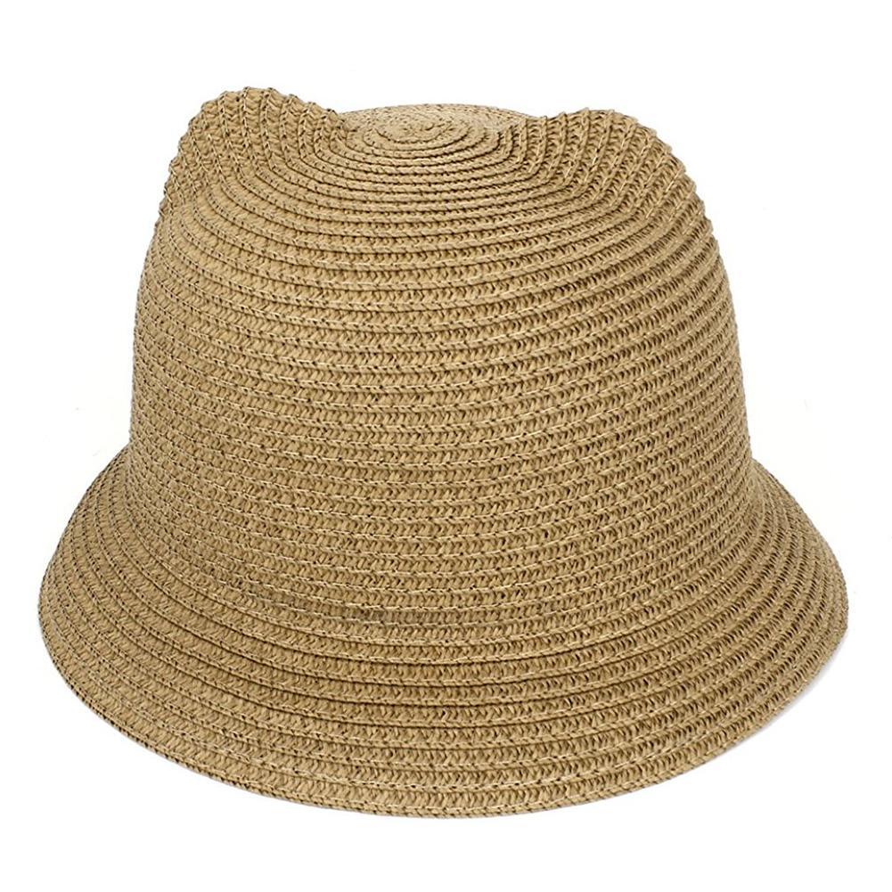 Lady Cat Ear Design Beach Cap Bowler Braided Straw Sunhat 7e34ffa84db
