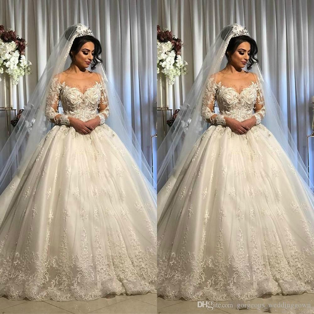 2020 Sexy Vintage Arabic Ball Gown Wedding Dresses Jewel Neck Long