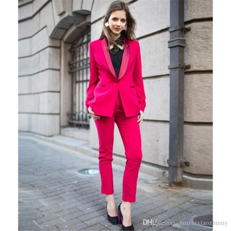 New fuchsia formal pant suits for weddings womens business suits female trouser suits womens tuxedo Jacket+Pants