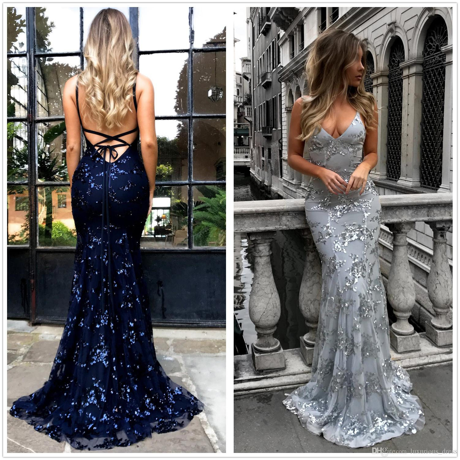 Silver/Gold/Burgundy Dark Navy Sexy 2019 Mermaid Prom Dresses Deep V Neck Spaghetti Straps Floor Length Backless Dresses Evening Party Wear