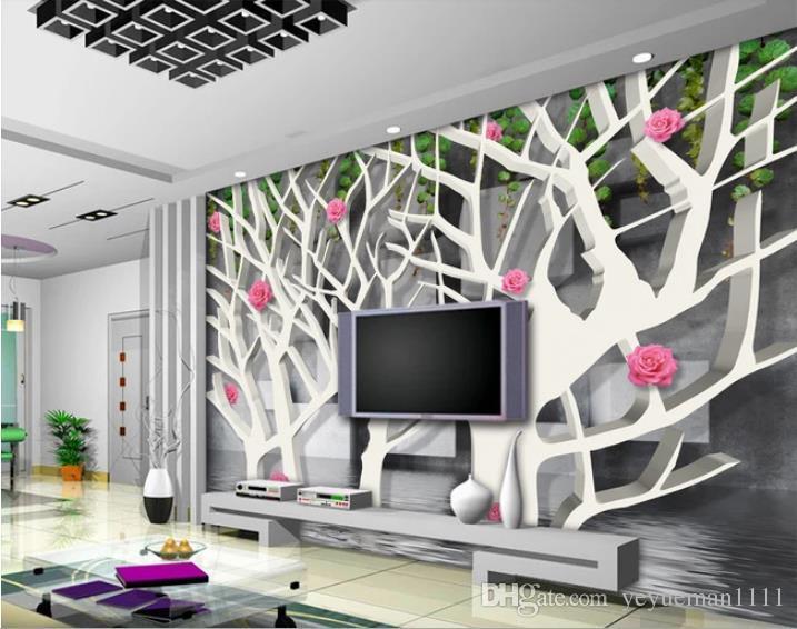 Acheter Papier Peint Personnalisé 3d Rose Rouge Carré Salon Chambre TV  Toile De Fond 3d Papier Peint Décoration De La Maison De Luxe De $26.69 Du  ...