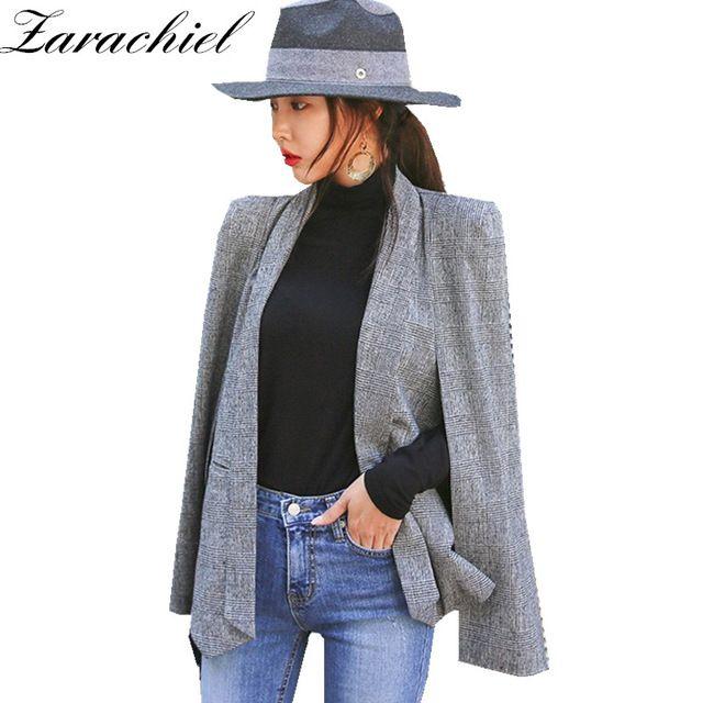2a60a4acc7 Compre Zarachiel Capa De La Moda Cabo Blazer Mujeres Ropa De Trabajo Frente  Abierto Poncho Escudo Muesca Solapa Dividir Manga Larga Casual Slim Suit  Jacket ...