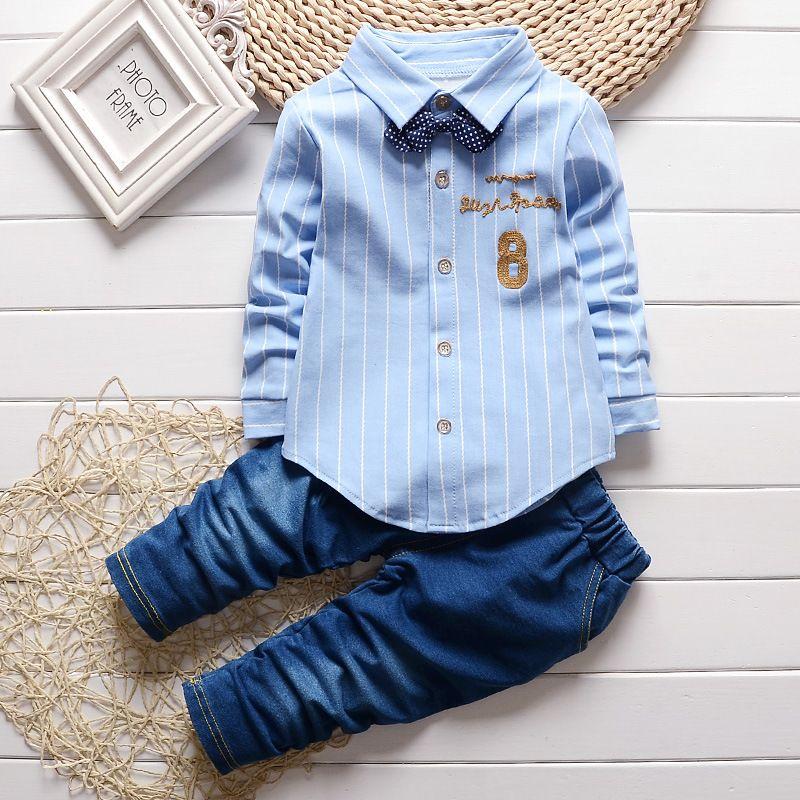 b37aee011 2019 Baby Boy Clothes 2018 Korean Leisure Striped Long Sleeved ...