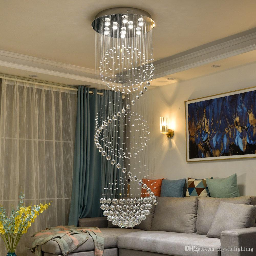 Modern 3 balls crystal chandelier living lighting ac110 220v lustre cristal lampe long staircase light fixtures chandelier chandeliers from crystallighting