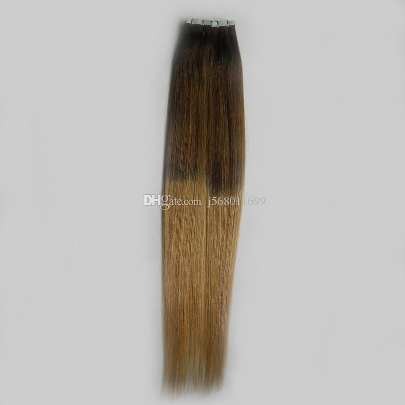 Hot T6/27 Brown And Blonde Virgin Remy Hair Ombre Two tone Brazilian Straight Hair PU Skin Weft Tape In Human Hair Extensions
