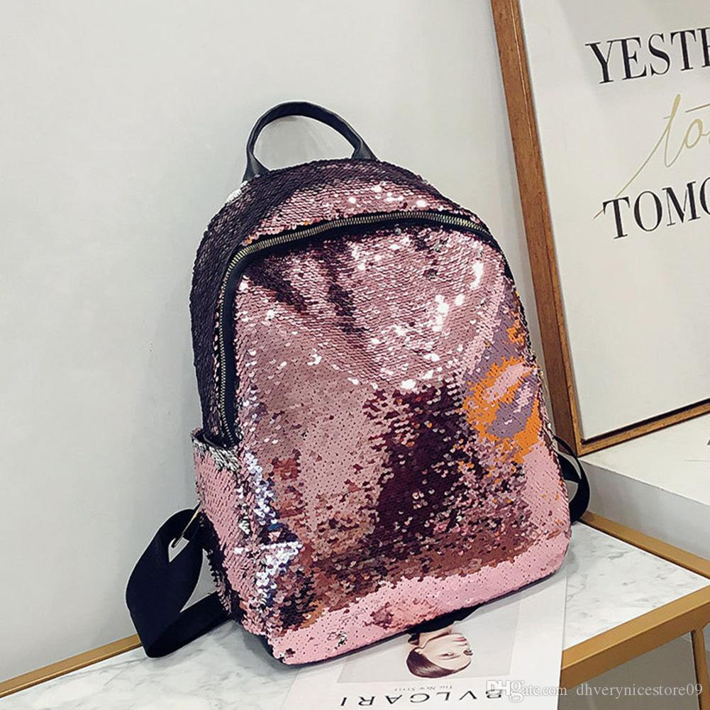 Fashion Backpack Women Delicate Sequins Changing Color Fashionable Backpack Leisure Travel Schoolbag Hot Sale Outdoor Shinning Backpack