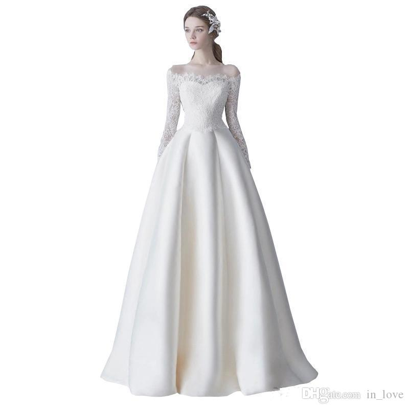 Simple 2nd Wedding Ideas: Discount Vintage Classic Design Wedding Dresses Long