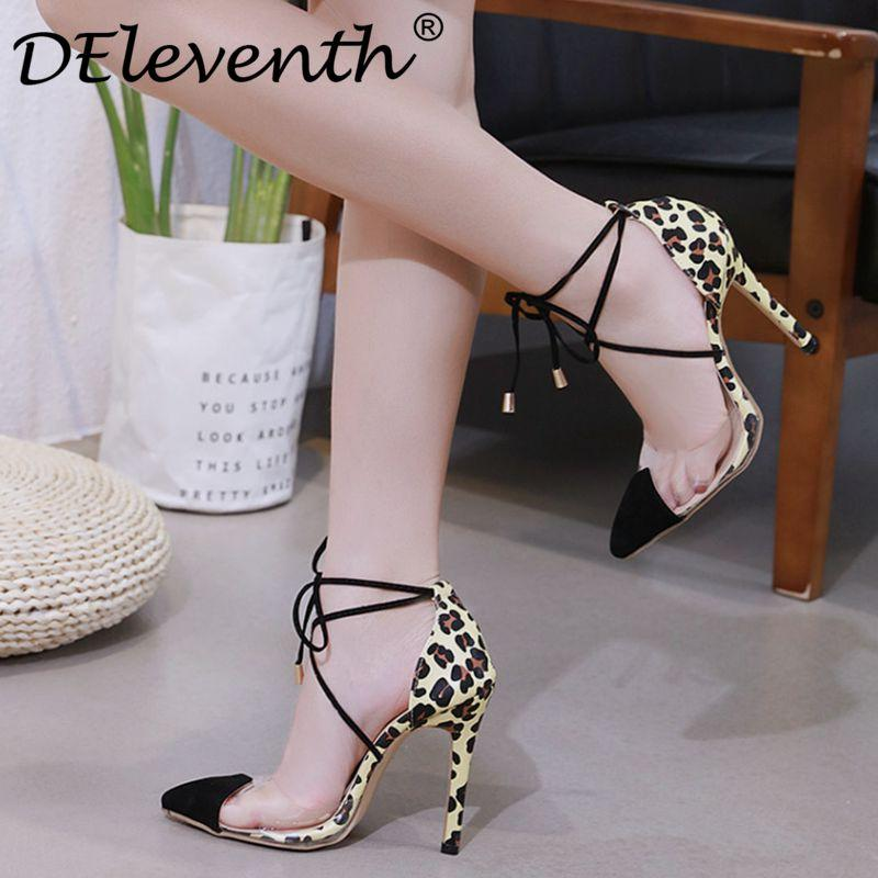6c0c52a90bd8 2019 DEleventh 2019 Spring Women Stiletto High Heels Pumps Fashion Ladies Pointed  Toe Lace Up Leopard Transparent PVC Thin Heel Shoes From Kaochange, ...