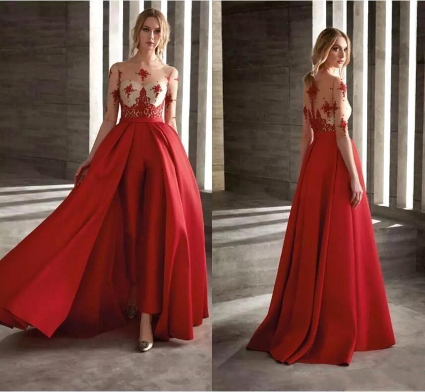 56d1e88399 Vestidos Para Bailes De Finalistas 2019 Vermelho Vestidos De Baile Com Saia  Destacável Cetim Moda Jumpsuit Meia Manga Longa Vestido De Coquetel Partido  ...