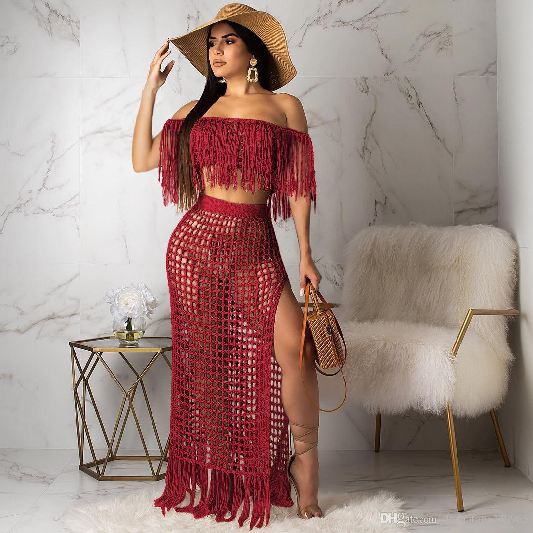 d4b397dcc84f 2019 2 Two Piece Skirt Set Women Summer Beach Maxi Two Piece Suits ...