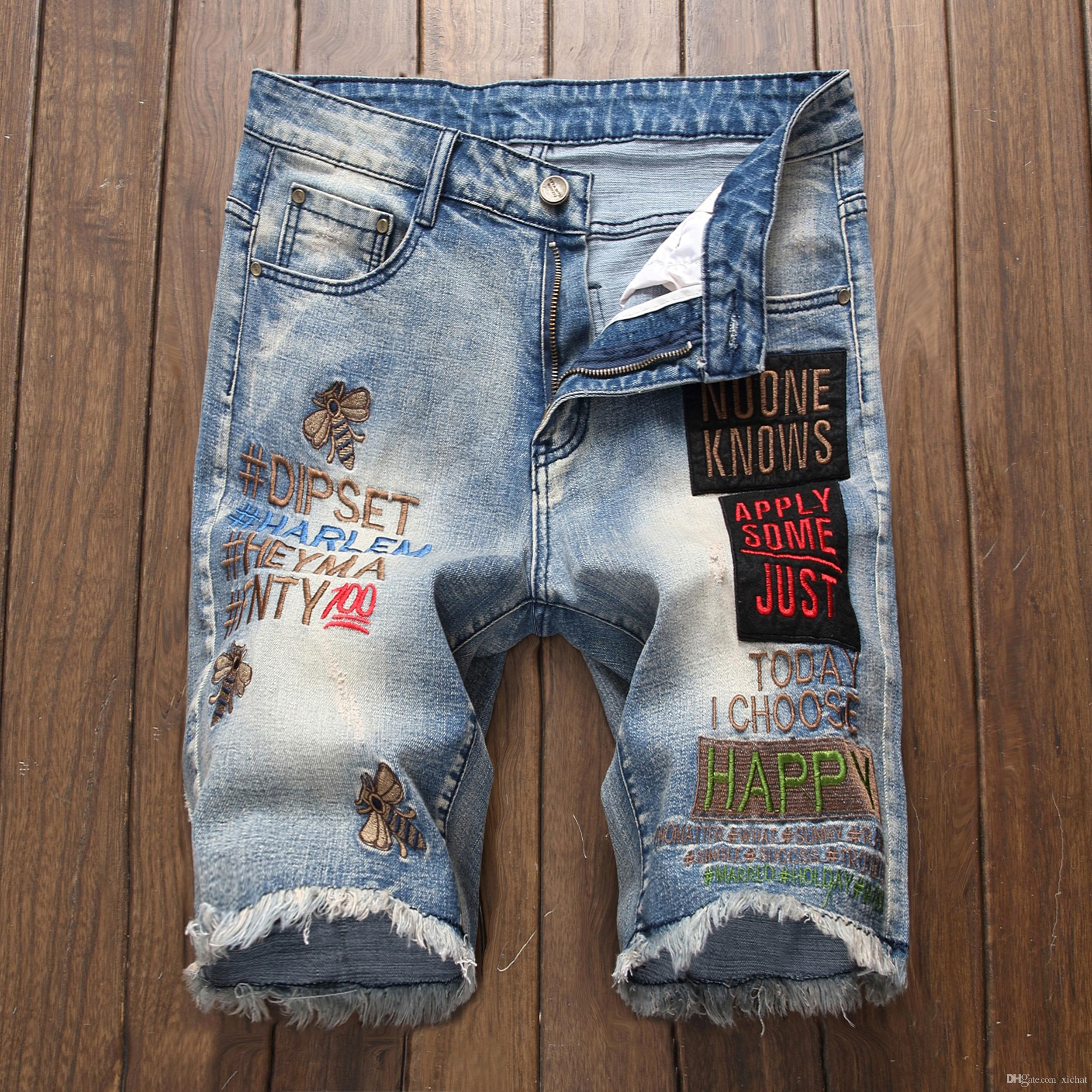 e3d93473e0 2019 Mens Designer Bee Embroidery Blue Denim Shorts 2019 Summer Badge  Bleached Retro Big Size Letters Patches Jeans Shorts Trousers 312 From  Xichat, ...