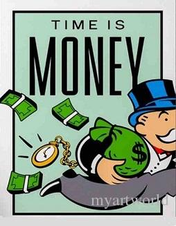 High Quality Handpainted &HD Print Graffiti Pop Art oil painting the  monopoly Time Is Money,Home Decor Wall Art On Canvas Multi Sizes 222