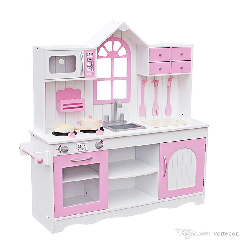 Kids Wood Kitchen Toy Cooking Pretend Play Set Toddler Wooden Playset with  Kitchenware Pink For Christmas Gifts