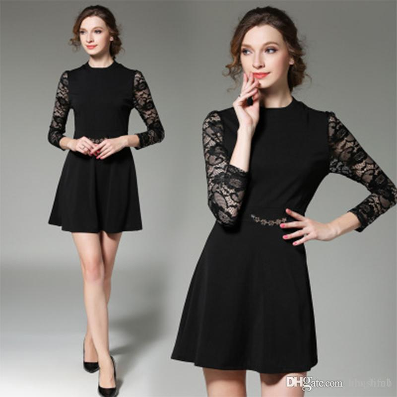 34848ee48fbcd0 Women'S Dress Vintage Woman Dresses Gown Casual Hepburn Style Summer Fashion  Original Lace Stitching Bottom Skirt Slim Long Sleeve Dres Dress For Womens  ...