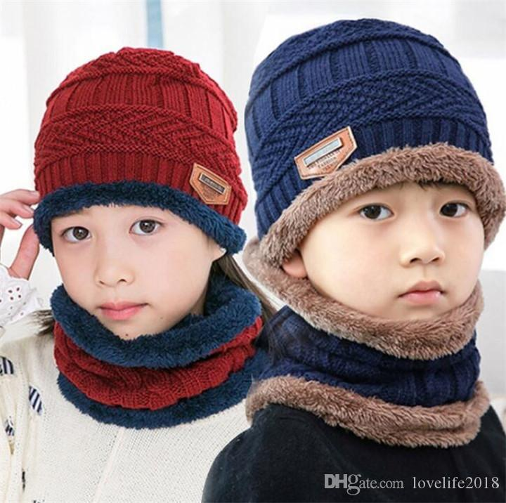 1PCS Fashion Children Winter Cap Scarf Set Wool and Fleece Baby Ear Protection Warm Hats Kids Boy Girl Outdoor Ski Caps T507