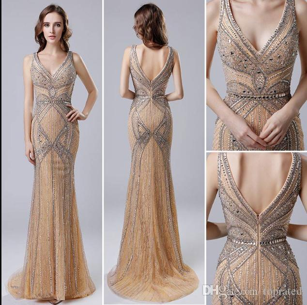 2019 Charming Champagne Mermaid Evening Dresses Luxury Beaded Sleeveless Sweep Train Cheap Long Prom Dresses Evening Wear Formal Gowns LX421