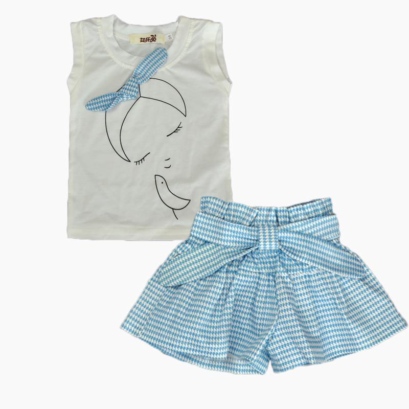 2019NEW 2PCS/1-7Years/Summer Style Baby Girls Clothing Sets Cute Cartoon 100% Cotton Sleeveless T-shirt+Shorts Band Kids Clothes