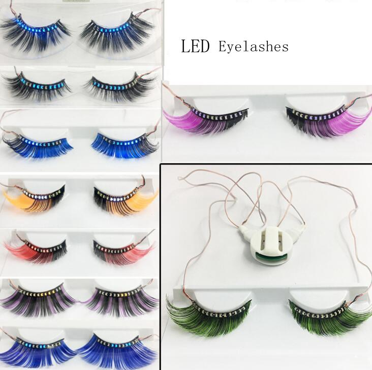 Led Light False Eyelashes 3D LED Full Strip Glowing Fake Eyelashes luminous Waterproof Eye Lashes for Dance Party GGA1764