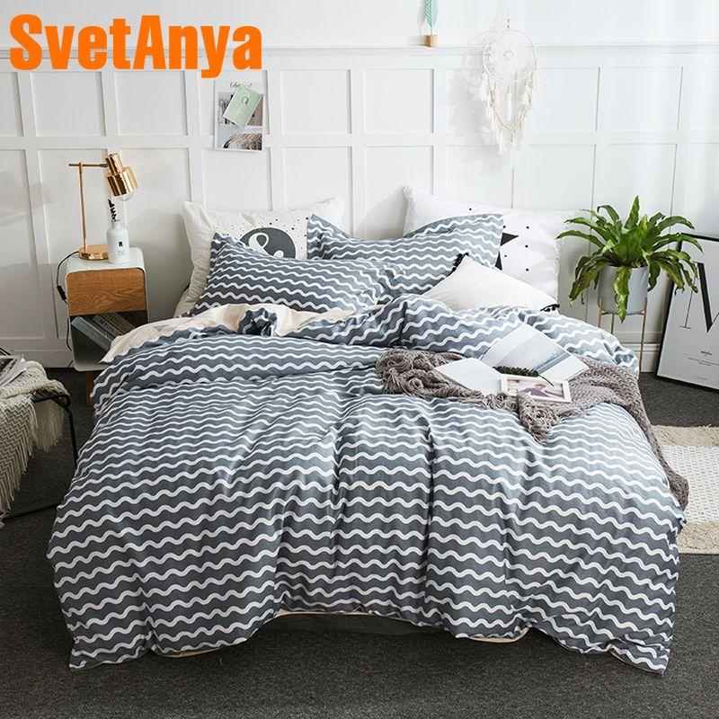 Svetanya Gray Cotton Bedding Set Sheet Pillowcase Quilt Cover Teens Boys Bedlinens Single Double Queen Full King Size