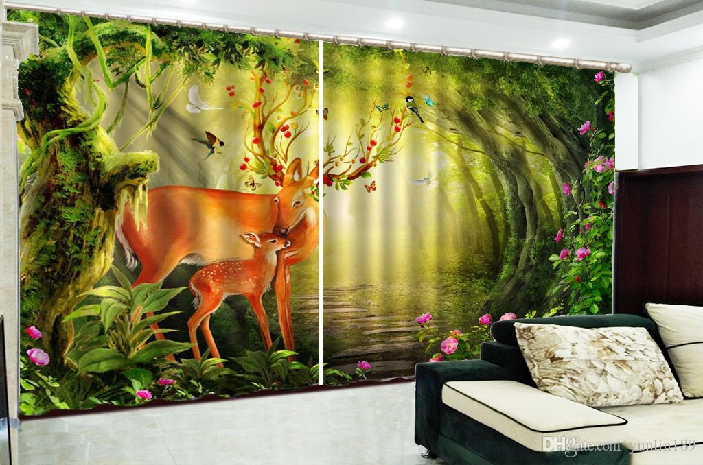 Wholesale Curtain Sika Deer Mother And Child In The Dreamy Forest 3d Animal Curtains Interior Decoration Shading Durable Curtains