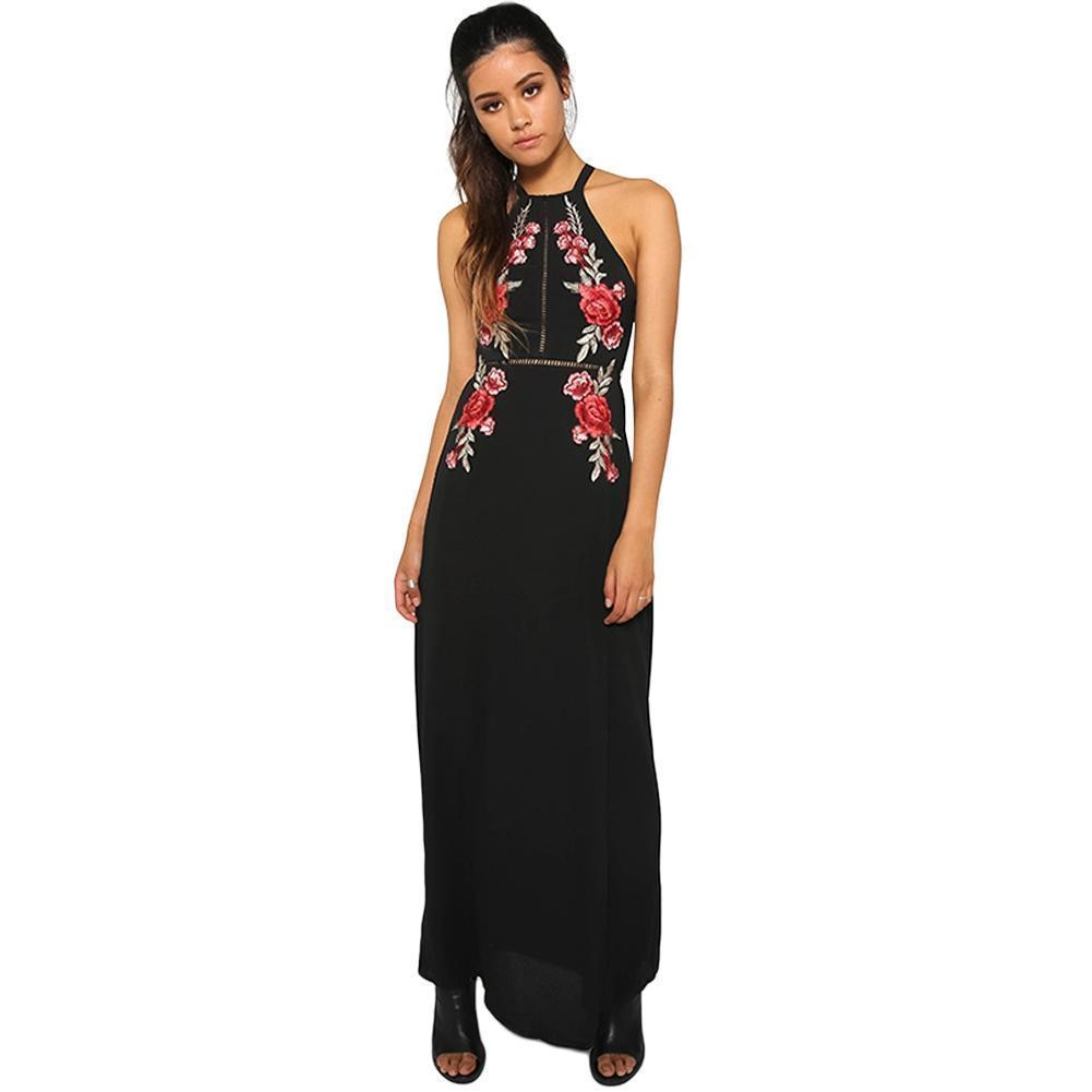 9ca73b676fb7 Floral Embroidery Maxi Dress Female Sexy Halter Backless Summer Dress 2019  Women Beach Split Elegant Long Dress Black Sundress Evening Party Dress  Black ...