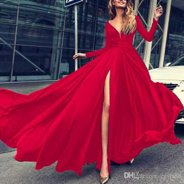 058c678293 Abito lungo spaccato rosso blu Abiti da cerimonia per le donne da sera  Abiti da cerimonia a maniche lunghe scollo a V Donna primavera estate Sexy  ...