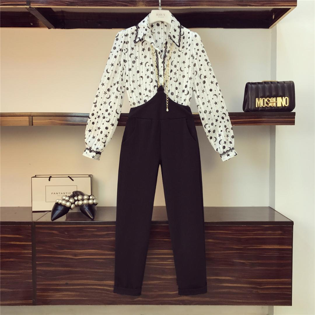 Girls New Fashion Printed Lapel Chiffon Shirt + Chains Suspender Trousers 2019 Spring Summer Womans Two Piece Set Top and Pants