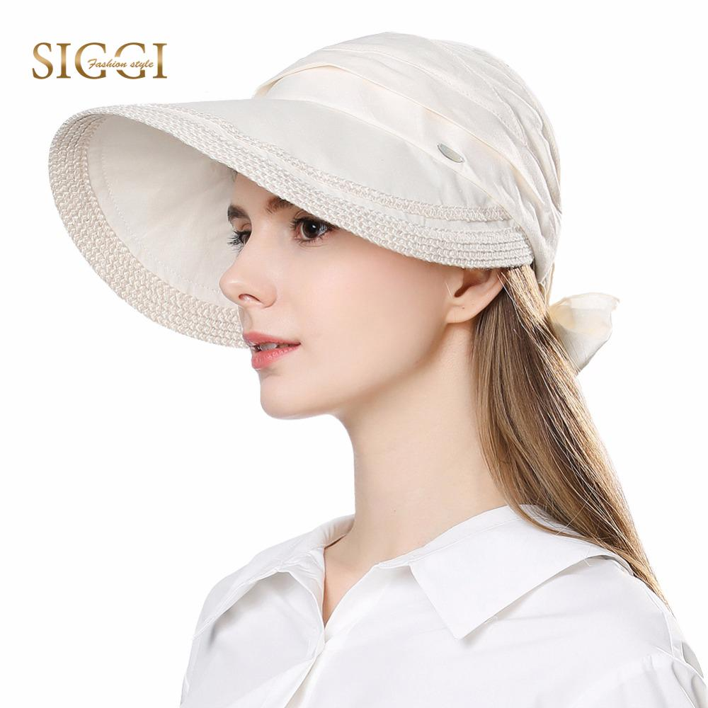 3fe199a0f31d9 FANCET Womens Summer Sun Hats Visor Wide Brim Packable 100% Linen UPF50+UV  Caps Adjustable Fashion Bowknot Gorros Fashion 89326 Boonie Hat Fedoras  From ...