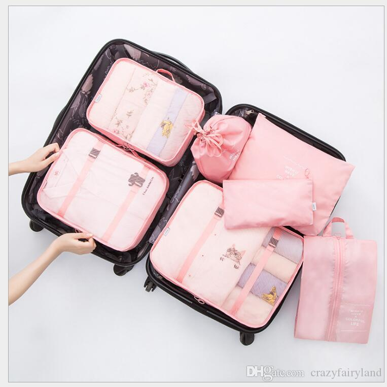 ae2f3ca8869a Travel Waterproof Storage Bag Set For Cloth Organizer Tidy Wardrobe  Suitcase Pouch Travel Organizer Bag Case Shoes Packing 7pcs/ set