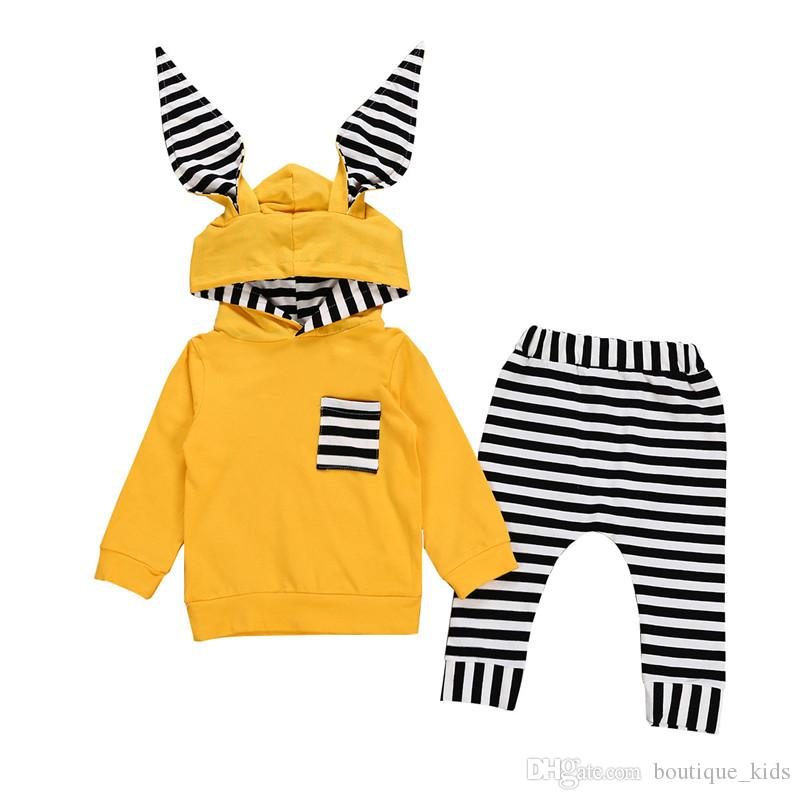 3e3caf22f 2019 Boutique Kids Clothes 2019 Spring Autumn Toddler Baby Boys Girls Bunny  Ear Striped Hooded Long Sleeve Pocket Tops Striped Pants Kids Sets From ...