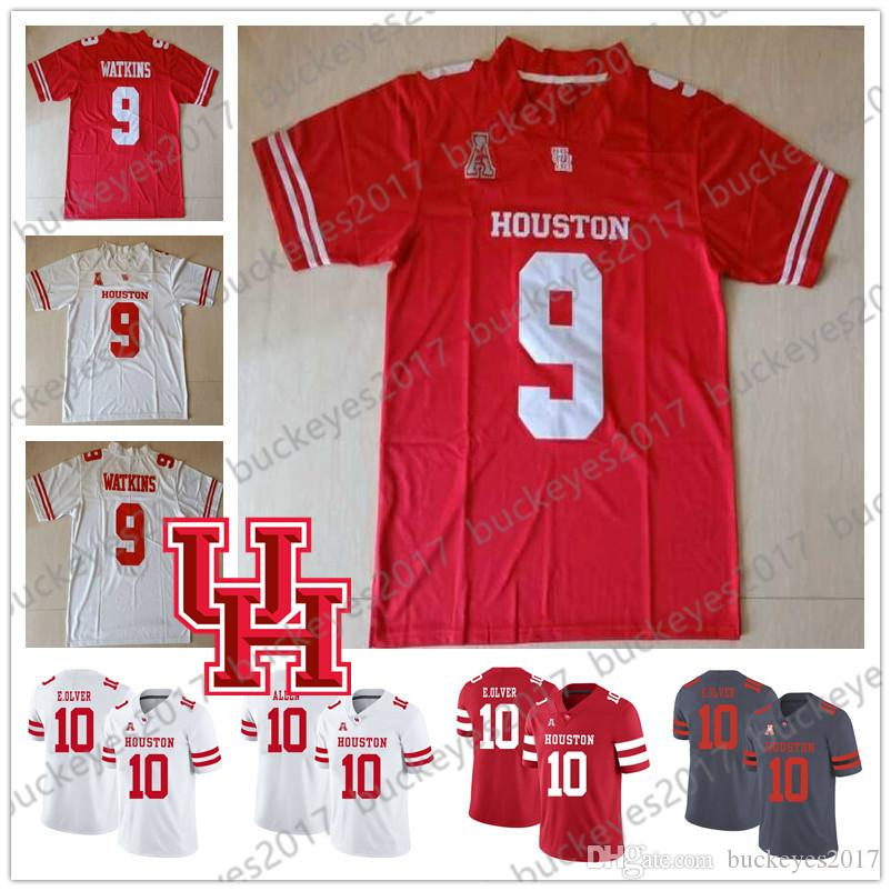 NCAA Houston Cougars Gris Rouge Blanc Hommes Jeunesse Enfant UH Maillots # 2 Keith Corbin 5 Marquez Stevenson 9 Courtney Lark Nick Watkins S-4XL