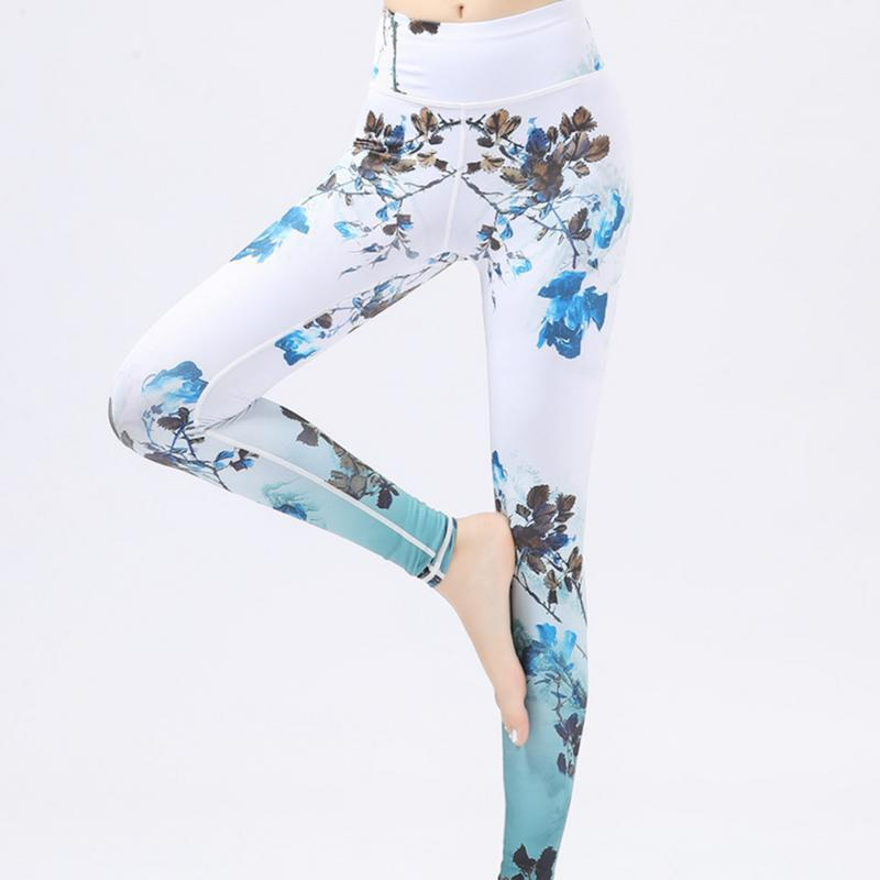 Flower Printe Leggings Yoga Pants Women Sports Pants Fitness Running Sexy Push Up Gym Wear Elastic Slim Workout Leggings