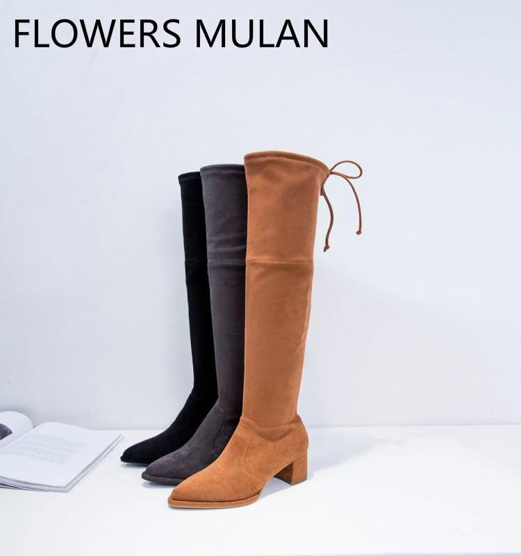 de98da538 Thigh High Boots Women 2019 Luxury Brown Grey Black Suede Upper Zapatos De  Mujer Round Toe Chunky Heel Shoes Back Bowtie Botas Cheap Cowgirl Boots  Mens ...