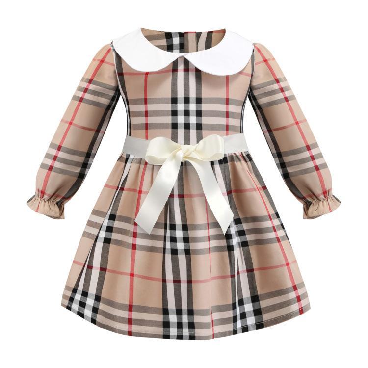 70f90074df NUOVI vestiti per bambini manica lunga per bambini bambini in cotone  causale bambini bavero con risvolto vestito scozzese bowknot decorazione  manica ...