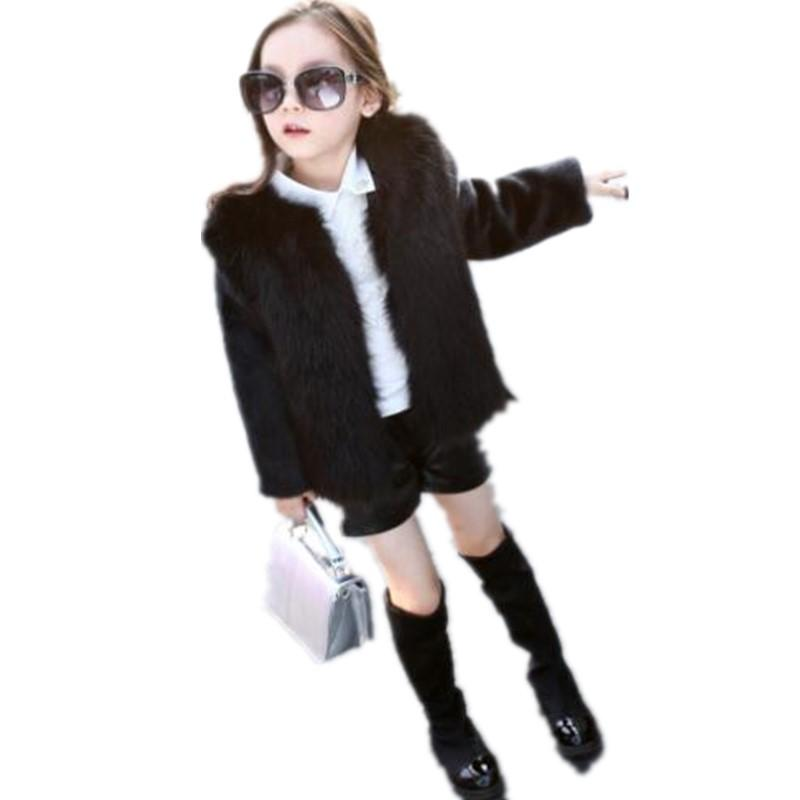 Girls Jacket Loog Sleeve Faux Fox Fur Coat Kids Clothes Winter Outerwear Children Short Cotton Imitation Fur Clothes N175