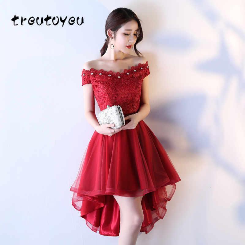 7f39baff2a1c Treutoyeu nuevas mujeres elegante noche de verano más el tamaño de manga  corta para mujer vestido de encaje rojo novia D019 Q190508