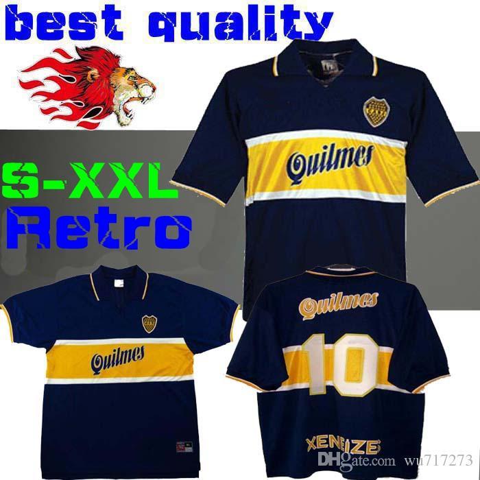 23f82604af8 2019 97 98 Boca Juniors Retro Soccer Jersey Maradona Vintage Caniggia 1997  1996 1998 MAGLIA Classic Football Shirts Maillot Camiseta De Futbol From  Wu717273 ...