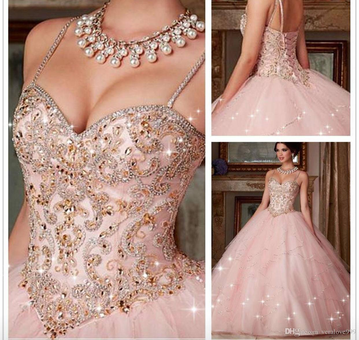 Beaded Spaghetti Straps Quinceanera Dresses with Beading New Pink Crystal Ball Gown Dresses For 15 16 Years Prom Party Dress