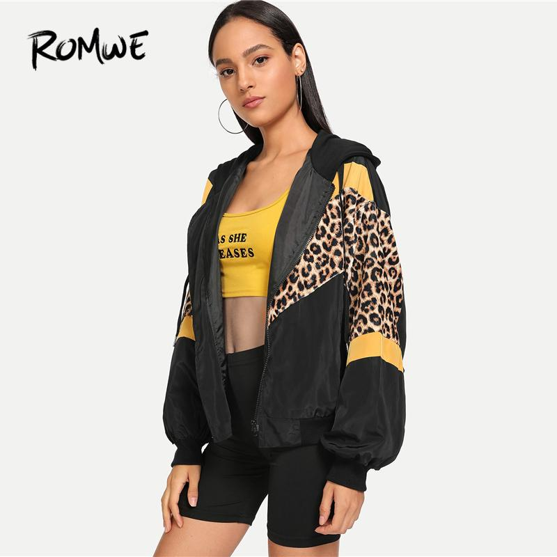 ROMWE Leopard Print Hooded Jacket Women Autumn Clothing Sporty Womens Jackets And Coats Female Zip Up Hoodie OuterwearMX190927