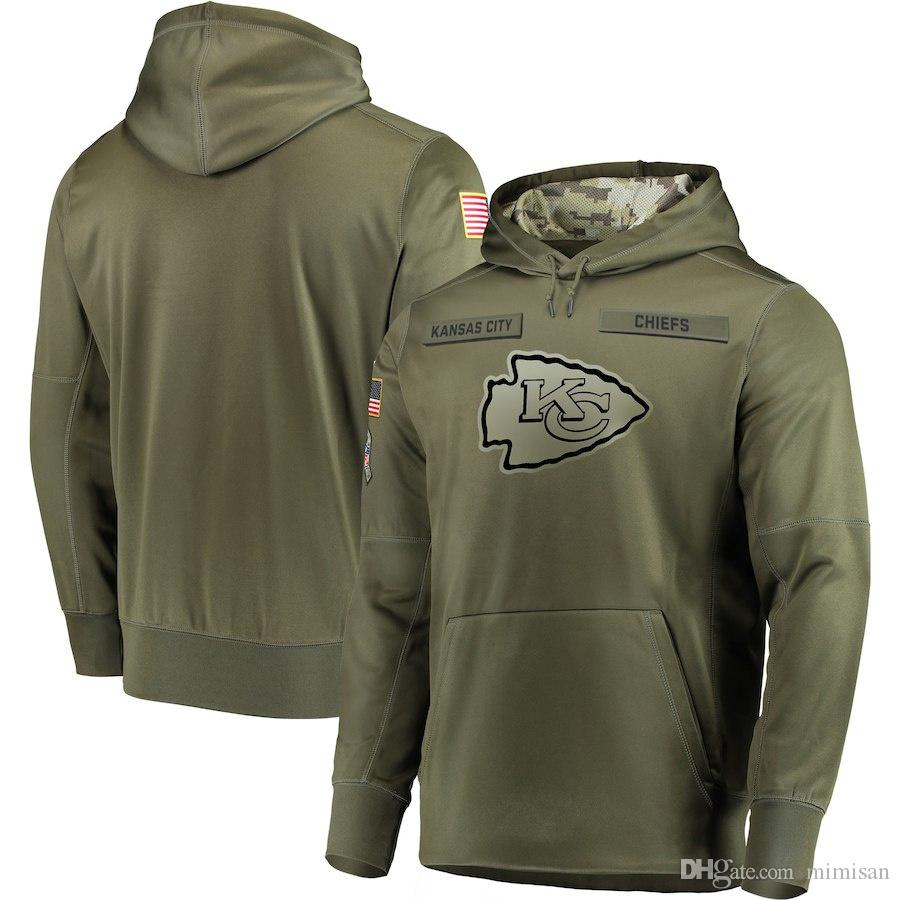 huge discount 2407d 79dd9 Kansas City Sweatshirt Chiefs Salute to Service Sideline Therma Performance  Pullover Hoodie Olive
